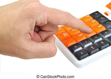 Caucasian hand making calculations on an orange calculator...