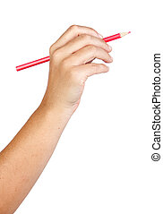Caucasian hand with red pencil