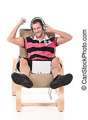 Caucasian handsome  man, relaxing