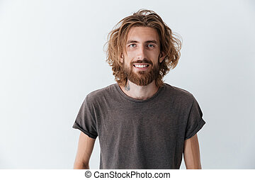 Caucasian handsome young bearded happy man