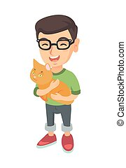 Caucasian happy boy in glasses holding a cat.