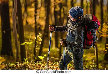 Caucasian Hiker in the Forest