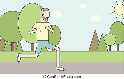 Caucasian hipster man jogging in the park