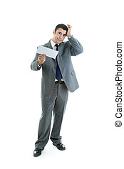 Caucasian Hispanic Man Rubbing Head Holding Blank Envelope
