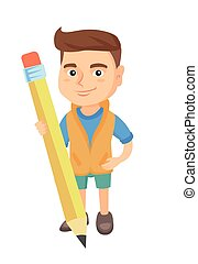 Caucasian kid boy standing with a huge pencil.