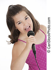 Caucasian Kids - Caucasian children singing karaoke on a...