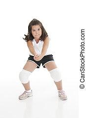 Caucasian Kids - Cute Caucasian girl hitting the ball in ...