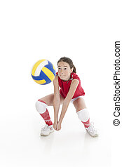 Caucasian Kids - Cute Caucasian girl hitting the ball in...