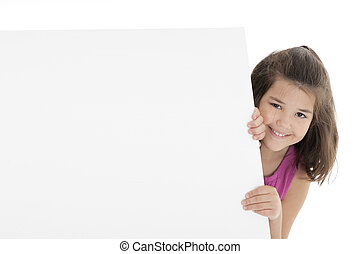 Cute Caucasian girl holding a blank sign