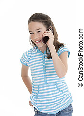 Caucasian Kids - Cute Caucasian girl talking on a cell phone