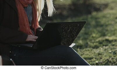 Caucasian lady working on laptop