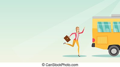 Caucasian latecomer woman running for the bus. - Young...