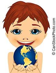 caucasian little boy holding earth globe