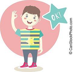 Caucasian little smiling boy showing an ok sign.