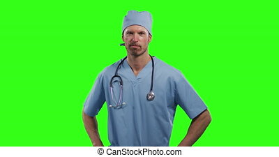 Caucasian male doctor on green screen background