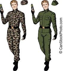 Caucasian male in green khaki holds taser - Caucasian male...