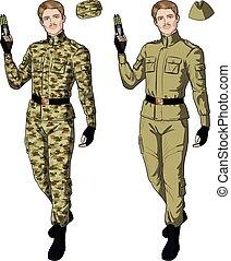 Caucasian male in sand khaki holds taser - Caucasian male in...