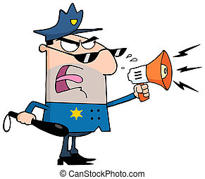 Caucasian Male Police Officer Shouting Through A Megaphone
