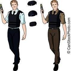 Caucasian male police officer holds taser - Caucasian male...