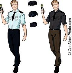 Caucasian male police officer holds taser - Caucasian male...