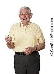Caucasian Man - An elderly Caucasian man listening to music ...