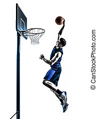 caucasian man basketball player jumping dunking silhouette -...
