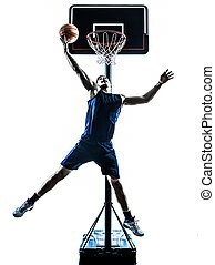 caucasian man basketball player jumping throwing silhouette