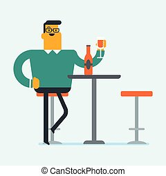 Caucasian man drinking wine in the restaurant.