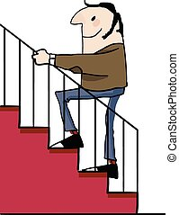 Adult male going up the stairs.