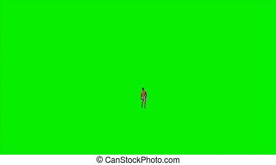 Caucasian man in shorts walking against green screen, Luma...