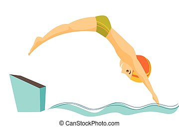 Caucasian man jumping in the swimming pool.