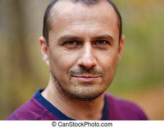 Caucasian man outdoor, closeup - Closeup of a handsome ...