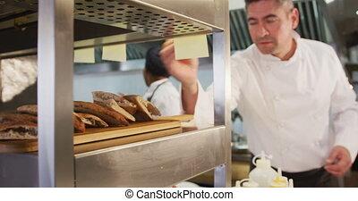 Caucasian man posing his dish - Front view of a Caucasian ...