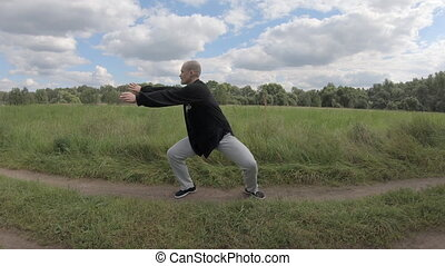 Caucasian man practicing tai chi Chinese martial arts exercise at the green park. Slow movement, deep breath relax calm peaceful environment