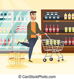 Caucasian man running with a trolley in the store.