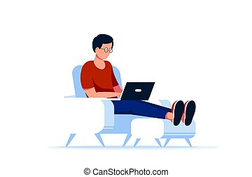Caucasian man sitting in chair and working on computer.