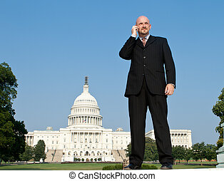 Caucasian Man Suit Phone Standing Washington DC