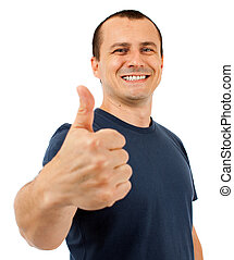 Caucasian man thumbs up