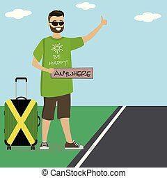 Caucasian man with suitcase hitchhiking.Cartoon happpy male...