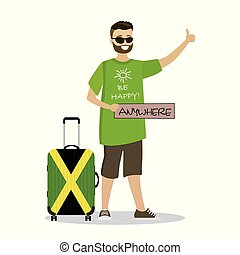 Cartoon happpy male with sign anywhere catching a taxi car...