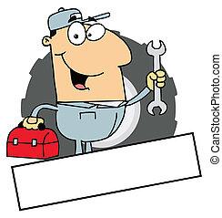 Caucasian Mechanic Logo - Cartoon Logo Mascot-Man Carrying A...