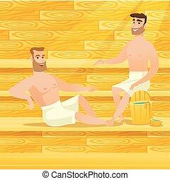 Caucasian men relaxing in sauna. - Caucasian men relaxing in...