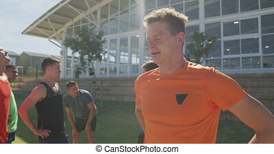 Caucasian men tired after training - Front view of a ...