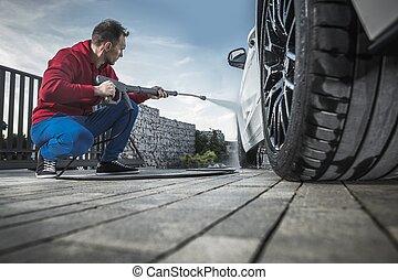 Men Washing His Modern Car