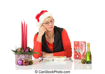 Caucasian middle aged woman, loneliness - Lonely middle aged...