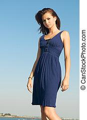 Caucasian Model blue dress