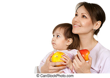 Caucasian mother with a beautiful daughter