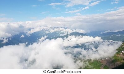Caucasian mountains in early spring from Rosa Khutor resort...