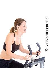 caucasian mulher, bicicleta, fundo, montando, branca, sorrindo, exercício