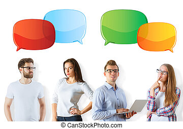 Caucasian people with speech bubble